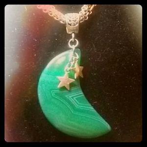 Green Stripe Agate Moon & Stars 3-tone neclace